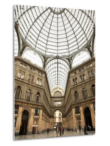 Low Angle View of the Interior of the Galleria Umberto I, Naples, Campania, Italy, Europe-Vincenzo Lombardo-Metal Print