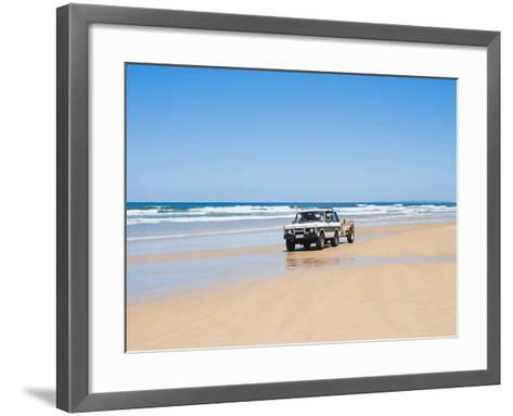 Tourists on 75 Mile Beach Self Drive 4x4 Tour of Fraser Is, UNESCO World Heritage Site, Australia-Matthew Williams-Ellis-Framed Art Print