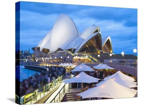 People at Opera Bar in Front of Sydney Opera House, UNESCO World Heritage Site, Sydney, Australia-Matthew Williams-Ellis-Stretched Canvas Print