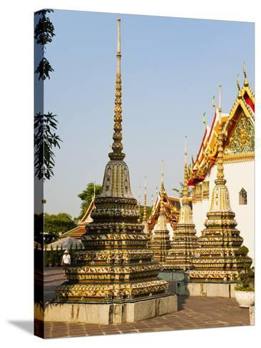 Colourful Stupa at Temple of the Reclining Buddha (Wat Pho), Bangkok, Thailand, Southeast Asia-Matthew Williams-Ellis-Stretched Canvas Print
