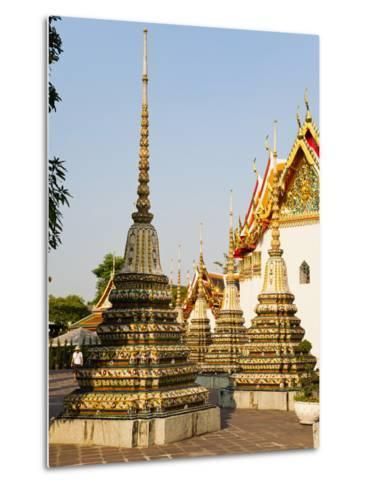 Colourful Stupa at Temple of the Reclining Buddha (Wat Pho), Bangkok, Thailand, Southeast Asia-Matthew Williams-Ellis-Metal Print