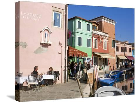 Canal on Burano Island, Venice, Veneto, Italy, Europe-Richard Cummins-Stretched Canvas Print