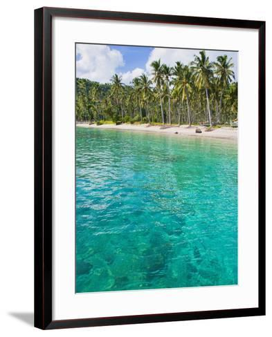Palm Trees and Turquoise Water, Nippah Beach, Lombok, West Nusa Tenggara, Indonesia, Southeast Asia-Matthew Williams-Ellis-Framed Art Print