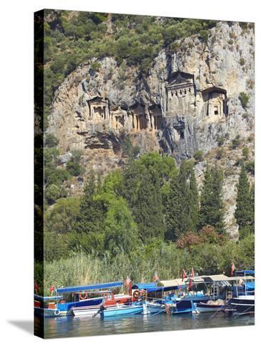 Lycian Tombs of Dalyan with Boats Below, Dalyan, Anatolia, Turkey, Asia Minor, Eurasia-Sakis Papadopoulos-Stretched Canvas Print