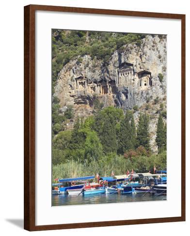 Lycian Tombs of Dalyan with Boats Below, Dalyan, Anatolia, Turkey, Asia Minor, Eurasia-Sakis Papadopoulos-Framed Art Print