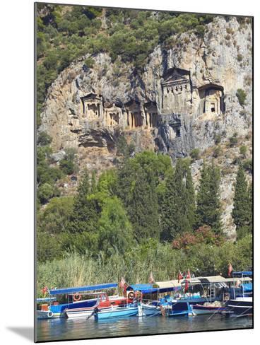 Lycian Tombs of Dalyan with Boats Below, Dalyan, Anatolia, Turkey, Asia Minor, Eurasia-Sakis Papadopoulos-Mounted Photographic Print