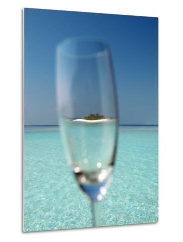 Glass and Tropical Island, Maldives, Indian Ocean, Asia-Sakis Papadopoulos-Metal Print