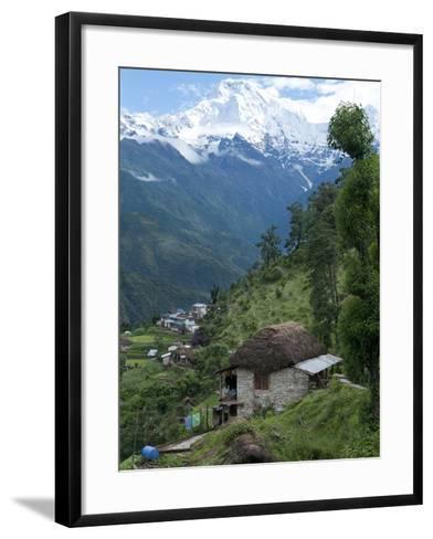 View of Southern Annapurna with Landruk Villge in Foreground, Pokhara, Annapurna Area, Nepal, Asia-Eitan Simanor-Framed Art Print