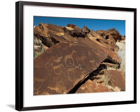 Rock Engravings, Huab River Valley, Torra Conservancy, Damaraland, Namibia, Africa-Sergio Pitamitz-Framed Art Print
