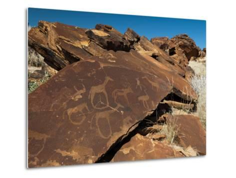 Rock Engravings, Huab River Valley, Torra Conservancy, Damaraland, Namibia, Africa-Sergio Pitamitz-Metal Print