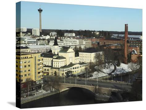 The Hameenkatu Bridge Crosses River Tammerkoski by Tampere Theatre in Tampere, Pirkanmaa, Finland-Stuart Forster-Stretched Canvas Print