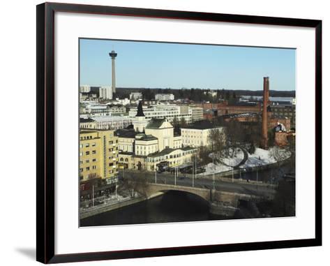 The Hameenkatu Bridge Crosses River Tammerkoski by Tampere Theatre in Tampere, Pirkanmaa, Finland-Stuart Forster-Framed Art Print