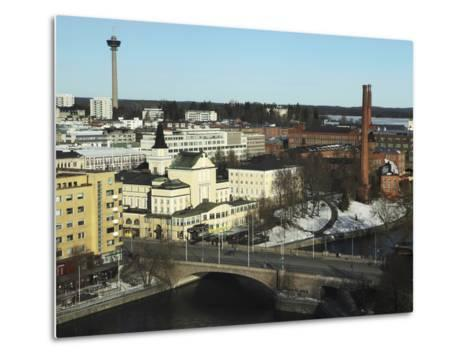 The Hameenkatu Bridge Crosses River Tammerkoski by Tampere Theatre in Tampere, Pirkanmaa, Finland-Stuart Forster-Metal Print