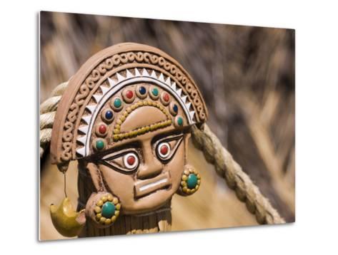 Traditional Inca Decorative Pottery, Lake Titicaca, Puno, Peru, South America-Ian Egner-Metal Print