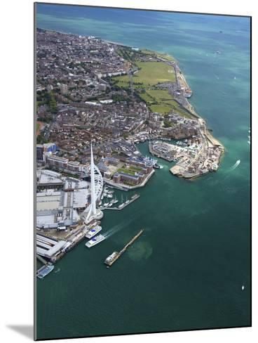 Aerial View of the Spinnaker Tower and Gunwharf Quays, Portsmouth, Solent, Hampshire, England, UK-Peter Barritt-Mounted Photographic Print