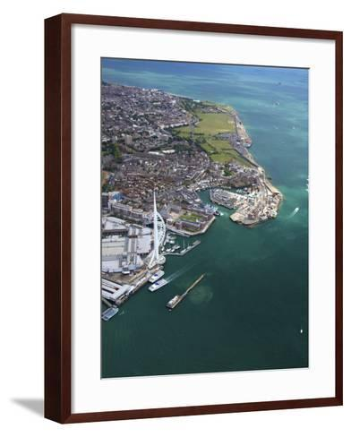 Aerial View of the Spinnaker Tower and Gunwharf Quays, Portsmouth, Solent, Hampshire, England, UK-Peter Barritt-Framed Art Print