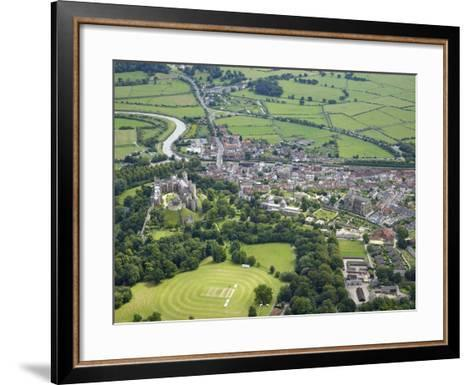 Aerial View of Arundel Castle, Cricket Ground and Cathedral, Arundel, West Sussex, England, UK-Peter Barritt-Framed Art Print
