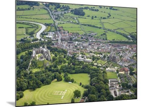 Aerial View of Arundel Castle, Cricket Ground and Cathedral, Arundel, West Sussex, England, UK-Peter Barritt-Mounted Photographic Print