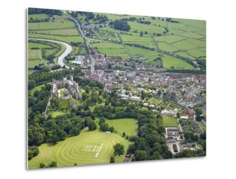 Aerial View of Arundel Castle, Cricket Ground and Cathedral, Arundel, West Sussex, England, UK-Peter Barritt-Metal Print