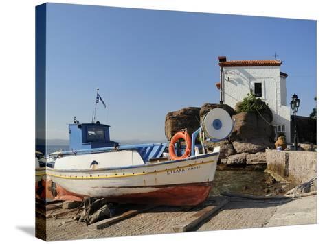 Fishing Boat Stella on Ramp Near Small Chapel at Skala Sikaminia, Lesbos (Lesvos), Greece-Nick Upton-Stretched Canvas Print