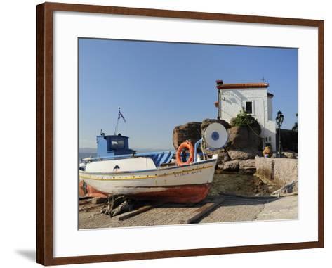 Fishing Boat Stella on Ramp Near Small Chapel at Skala Sikaminia, Lesbos (Lesvos), Greece-Nick Upton-Framed Art Print