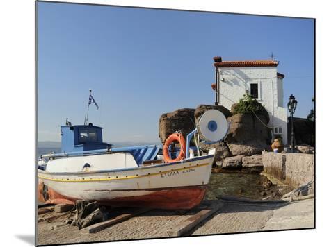 Fishing Boat Stella on Ramp Near Small Chapel at Skala Sikaminia, Lesbos (Lesvos), Greece-Nick Upton-Mounted Photographic Print