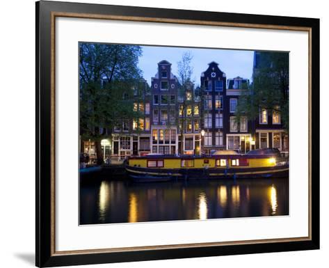 Canal Boat and Architecture, Amsterdam, Holland, Europe-Frank Fell-Framed Art Print