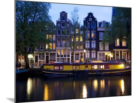 Canal Boat and Architecture, Amsterdam, Holland, Europe-Frank Fell-Mounted Photographic Print