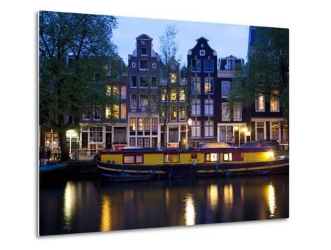 Canal Boat and Architecture, Amsterdam, Holland, Europe-Frank Fell-Metal Print