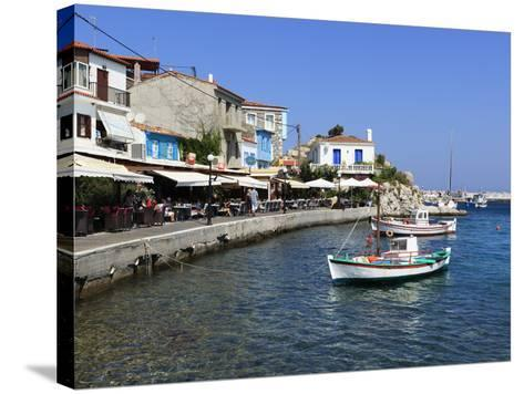 Cafes on Harbour, Kokkari, Samos, Aegean Islands, Greece-Stuart Black-Stretched Canvas Print