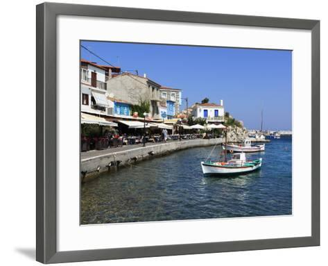 Cafes on Harbour, Kokkari, Samos, Aegean Islands, Greece-Stuart Black-Framed Art Print