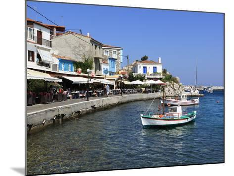Cafes on Harbour, Kokkari, Samos, Aegean Islands, Greece-Stuart Black-Mounted Photographic Print