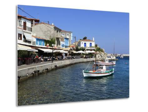Cafes on Harbour, Kokkari, Samos, Aegean Islands, Greece-Stuart Black-Metal Print