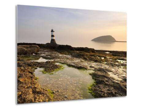 Dawn at Penmon Lighthouse, Penmon Point, Anglesey, North Wales, Wales, United Kingdom, Europe-Chris Hepburn-Metal Print