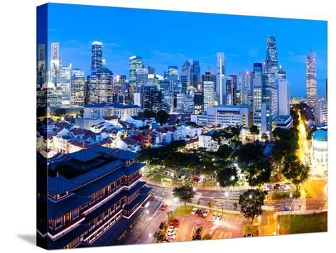 The Buddha Tooth Relic Temple and Central Business District (Cbd), Chinatown, Singapore-Matthew Williams-Ellis-Stretched Canvas Print