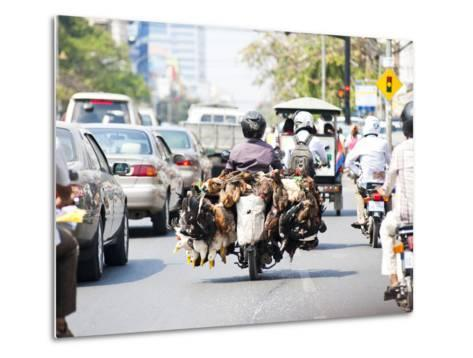 Live Chickens and Ducks Being Taken to Market on a Moped in Phnom Penh, Cambodia, Indochina-Matthew Williams-Ellis-Metal Print