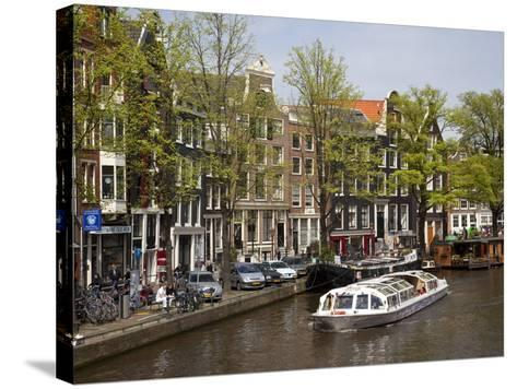 Canal Boat and Architecture, Amsterdam, Holland, Europe-Frank Fell-Stretched Canvas Print