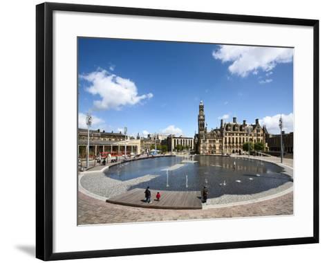 City Park Pool and City Hall, City of Bradford, West Yorkshire, England-Mark Sunderland-Framed Art Print