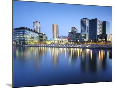 Dawn at Mediacity Uk Home of the Bbc, Salford Quays, Manchester, Greater Manchester, England, UK-Chris Hepburn-Mounted Photographic Print