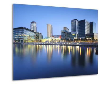 Dawn at Mediacity Uk Home of the Bbc, Salford Quays, Manchester, Greater Manchester, England, UK-Chris Hepburn-Metal Print