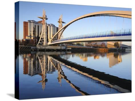 Early Morning View of the Millennium Bridge, Salford Quays, Manchester, Greater Manchester, England-Chris Hepburn-Stretched Canvas Print