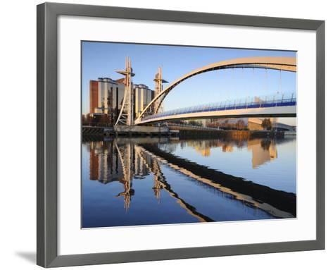 Early Morning View of the Millennium Bridge, Salford Quays, Manchester, Greater Manchester, England-Chris Hepburn-Framed Art Print