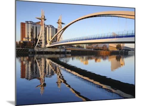 Early Morning View of the Millennium Bridge, Salford Quays, Manchester, Greater Manchester, England-Chris Hepburn-Mounted Photographic Print