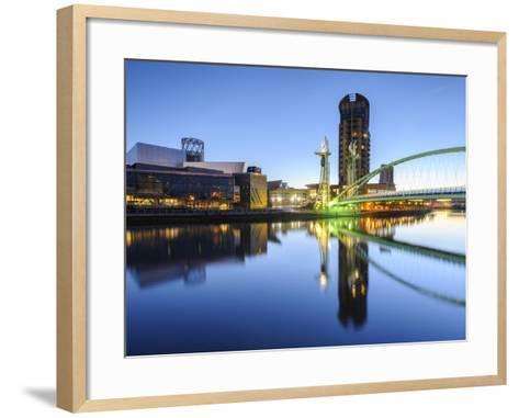 Millennium Bridge and Lowry Centre at Dawn, Salford Quays, Manchester, Greater Manchester, England-Chris Hepburn-Framed Art Print