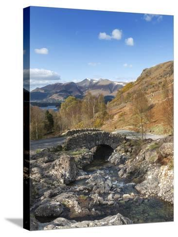 Ashness Bridge and Barrow Beck, Derwent Water and Skiddaw, Lake District Nat'l Park, England-Chris Hepburn-Stretched Canvas Print