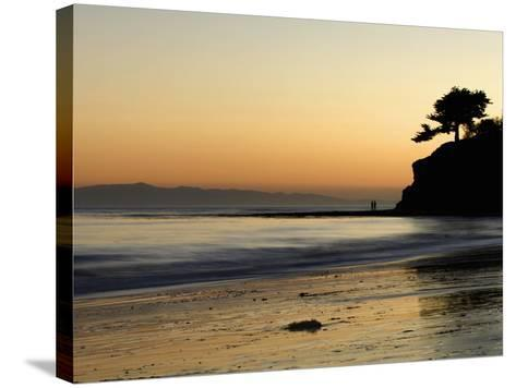 Lovers Silhouette at Sunset on the Ocean, Santa Barbara, California, USA, North America-Antonio Busiello-Stretched Canvas Print