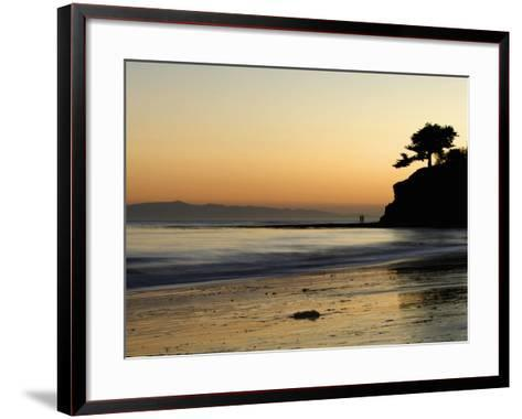 Lovers Silhouette at Sunset on the Ocean, Santa Barbara, California, USA, North America-Antonio Busiello-Framed Art Print