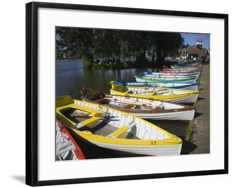 Rowing Boats Lined Up on the Meare Boating Lake, Thorpeness, Suffolk, England, UK, Europe-Ian Murray-Framed Art Print