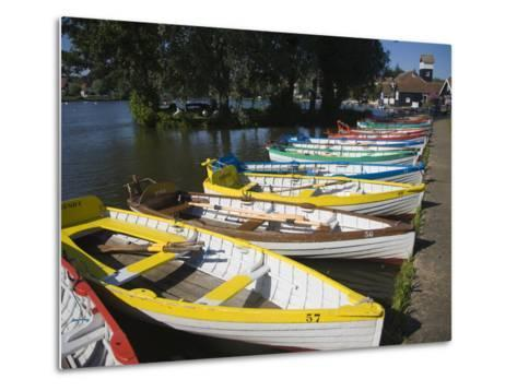 Rowing Boats Lined Up on the Meare Boating Lake, Thorpeness, Suffolk, England, UK, Europe-Ian Murray-Metal Print