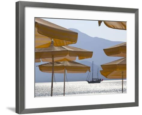 Umbrellas and Yacht, Psili Ammos, Samos, Aegean Islands, Greece-Stuart Black-Framed Art Print